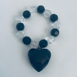 Jewelry - Vintage Black Heart Beaded Bracelet